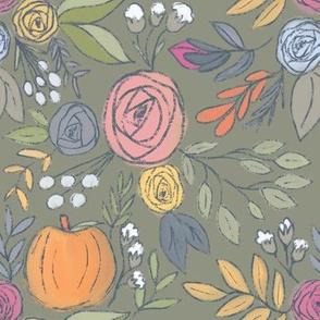 Pumpkin Spice Florals - Army Green