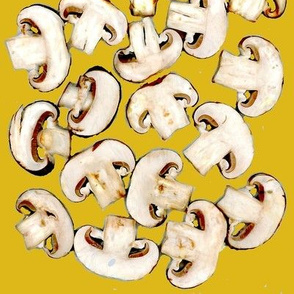 mushrooms chopped on yellow