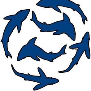 Minimal Abstract Sharks Dark Blue on White