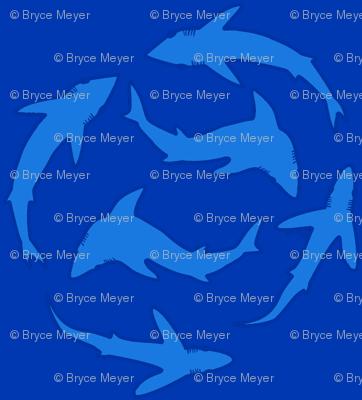 Minimalist Abstract Sharks blue on blue