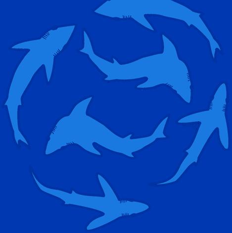 Minimalist Abstract Sharks blue on blue fabric by combatfish on Spoonflower - custom fabric