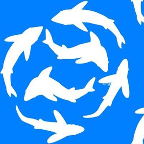 Minimal Shark School white on blue