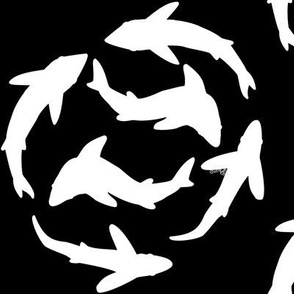 Minimal Abstract sharks white and black