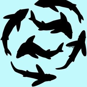 Abstract Minimal Sharks black on blue