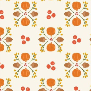Bright + Bold Pumpkin Cranberry Acorn Damask // Vintage Autumn Charm