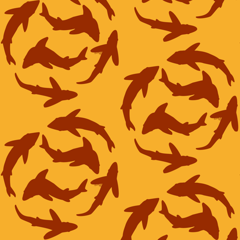 Abstract Sharks in fire colors fabric by combatfish on Spoonflower - custom fabric