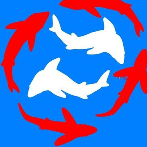 Abstract Minimal Sharks in Red, White, and Blue