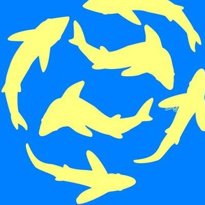 Abstract Minimal Sharks yellow on blue