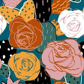 Limited Color Palette Abstract Rose Floral