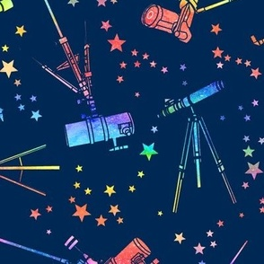 Telescopes - rainbow - navy background