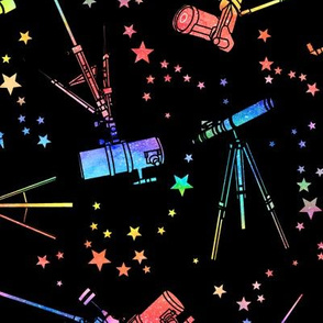 Telescopes - rainbow - black background