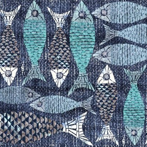 Fish in a mosaic block print style