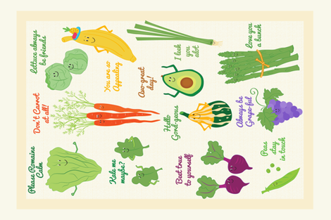 veggie_fruit_pun fabric by tinastextiles on Spoonflower - custom fabric