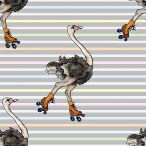 Ostrich on Skates
