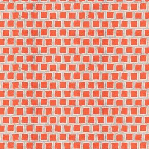 Autumn Small Mosaic Squares Orange Red Tan Distress Grunge Texture _ Miss Chiff Designs geometric