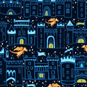 Royal Blue Castles on Dark Navy Background with Friendly Orange Dragons // Medieval Happy City // Historical Castles, Towers, Banners, & Dragons on Starry Sky Background