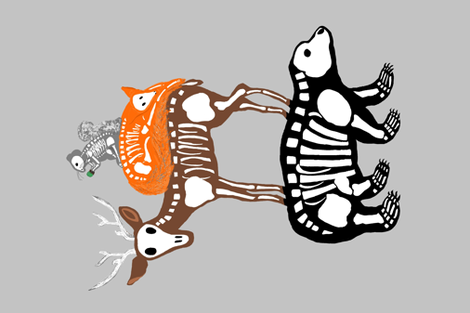 Woodland Skeletons fabric by thetwelve25 on Spoonflower - custom fabric
