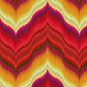 Bargello Curved Chevrons in Red and Gold
