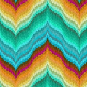 Bargello Curved Chevrons in Teal Mint and Golds