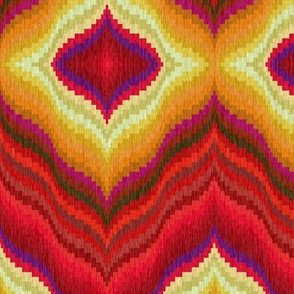 Bargello Diamonds in Red and Gold