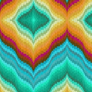 Bargello Diamonds in Teal Mint and Golds