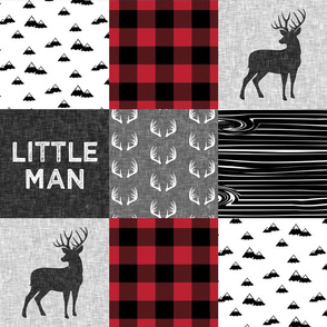 little man - red and black (buck) quilt woodland w/mountains C18BS