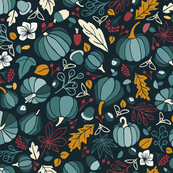 Fall Fruits on Navy Blue