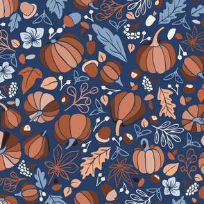 Fall Fruits on Blue