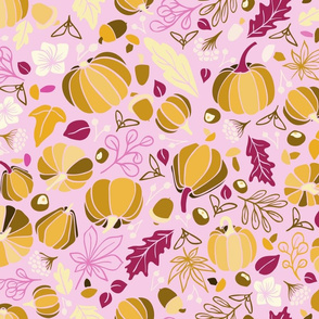 Fall Fruits on Pink