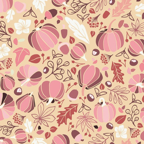 Fall Fruits on Beige