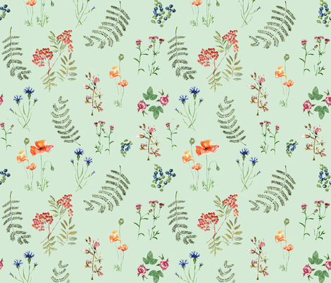 Botanica by Anna Aqua colour fabric by annahedeklint on Spoonflower - custom fabric