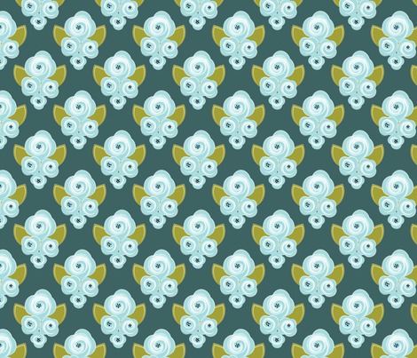 Corsage - Teal fabric by natitys on Spoonflower - custom fabric