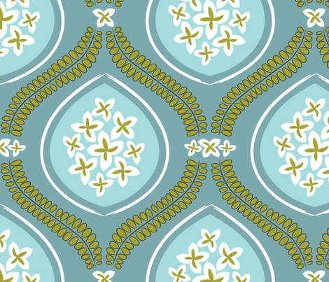 Garden Tile - Aqua Blue fabric by natitys on Spoonflower - custom fabric