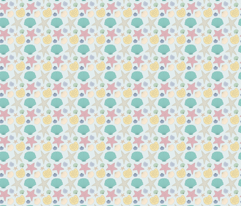 Colorful seashells on teal fabric by inotra on Spoonflower - custom fabric