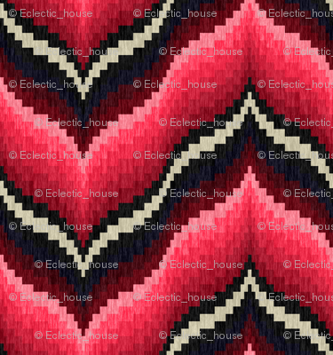 Bargello Curved Chevons in Pink and Burgundy