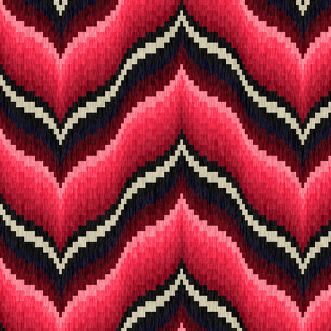 Bargello Curved Chevons in Pink and Burgundy fabric by eclectic_house on Spoonflower - custom fabric