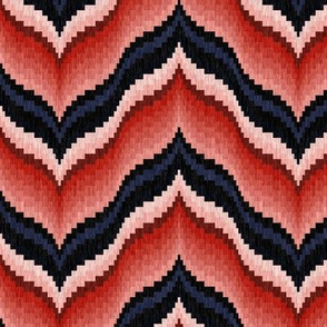 Bargello Curved Chevrons in Pink and Blue