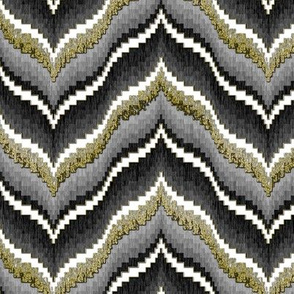Bargello Curved Chevrons in Gray and Faux Gold