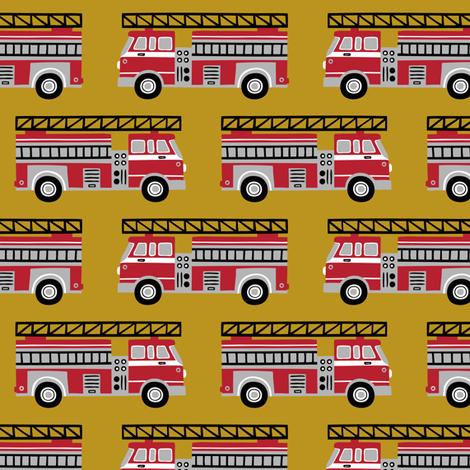 firetrucks - mustard fabric by mirabelleprint on Spoonflower - custom fabric