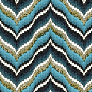 Bargello Curved Chevrons in Light Blue With Faux Gold