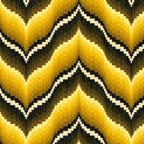 Bargello Curved Chevrons in Golden Tones
