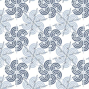 Trois Arcs Floral II in China Blue