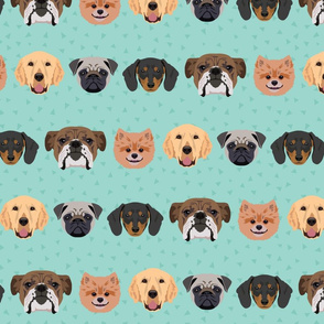 Lots of Dogs - Green Background