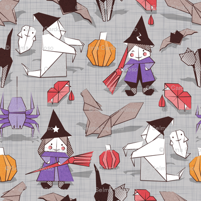 Halloween origami tricks // grey linen texture background white and coloured paper and cardboard geometric witches cats ghosts spiders wolfs bats Dracula lips and pumpkins