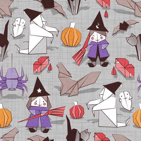 Halloween origami tricks // grey linen texture background white and coloured paper and cardboard geometric witches cats ghosts spiders wolfs bats Dracula lips and pumpkins fabric by selmacardoso on Spoonflower - custom fabric