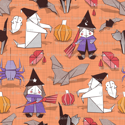Halloween origami tricks // orange linen texture background white and coloured paper and cardboard geometric witches cats ghosts spiders wolfs bats Dracula lips and pumpkins