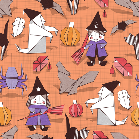 Halloween origami tricks // orange linen texture background white and coloured paper and cardboard geometric witches cats ghosts spiders wolfs bats Dracula lips and pumpkins fabric by selmacardoso on Spoonflower - custom fabric