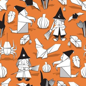 Halloween origami tricks // orange background black and white paper geometric witches cats ghosts spiders wolfs bats Dracula lips and pumpkins
