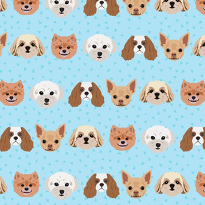 Dogs - Blue Pattern Background