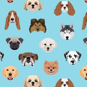 Many Dogs - Blue Background